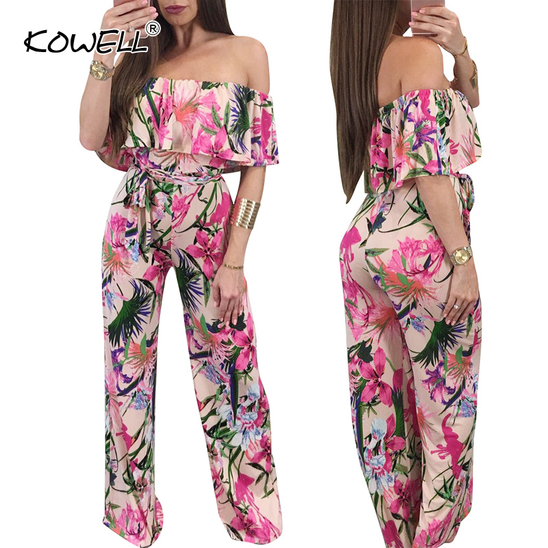 Women's Clothing Lovely Kowell Boho Off Shoulder Print Summer Jumpsuits&rompers Women Sexy One Piece Fitness Playsuit Holiday Romper Overalls