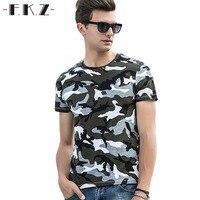 FKZ Vogue Casual New T Shirt Men S Camouflage Pattern Printing Tshirt Soft Cotton Slim T