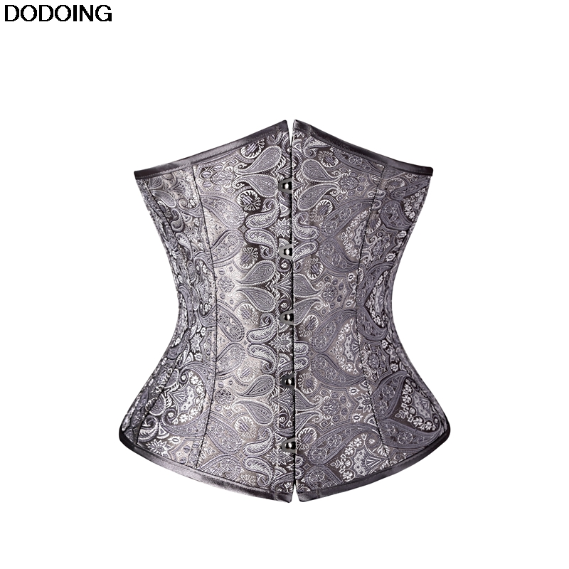 Waist Shaping Underbust   Corset   High Quality Shapewear Female Intimates Body Slim Jacquard Black Grey Silver   Corset   Europe Style