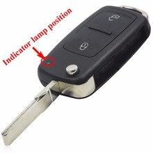 2 Кнопка Uncut Складной Флип Дистанционного Ключа Замена Дело БРЕЛОК Shell для Vw VOLKSWAGEN Transporter T5 Поло ГОЛЬФ с логотипом