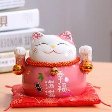 Maneki Neko Porcelain Lucky Cat Home Decor Ornaments, Fortune Cat Money Box Craft