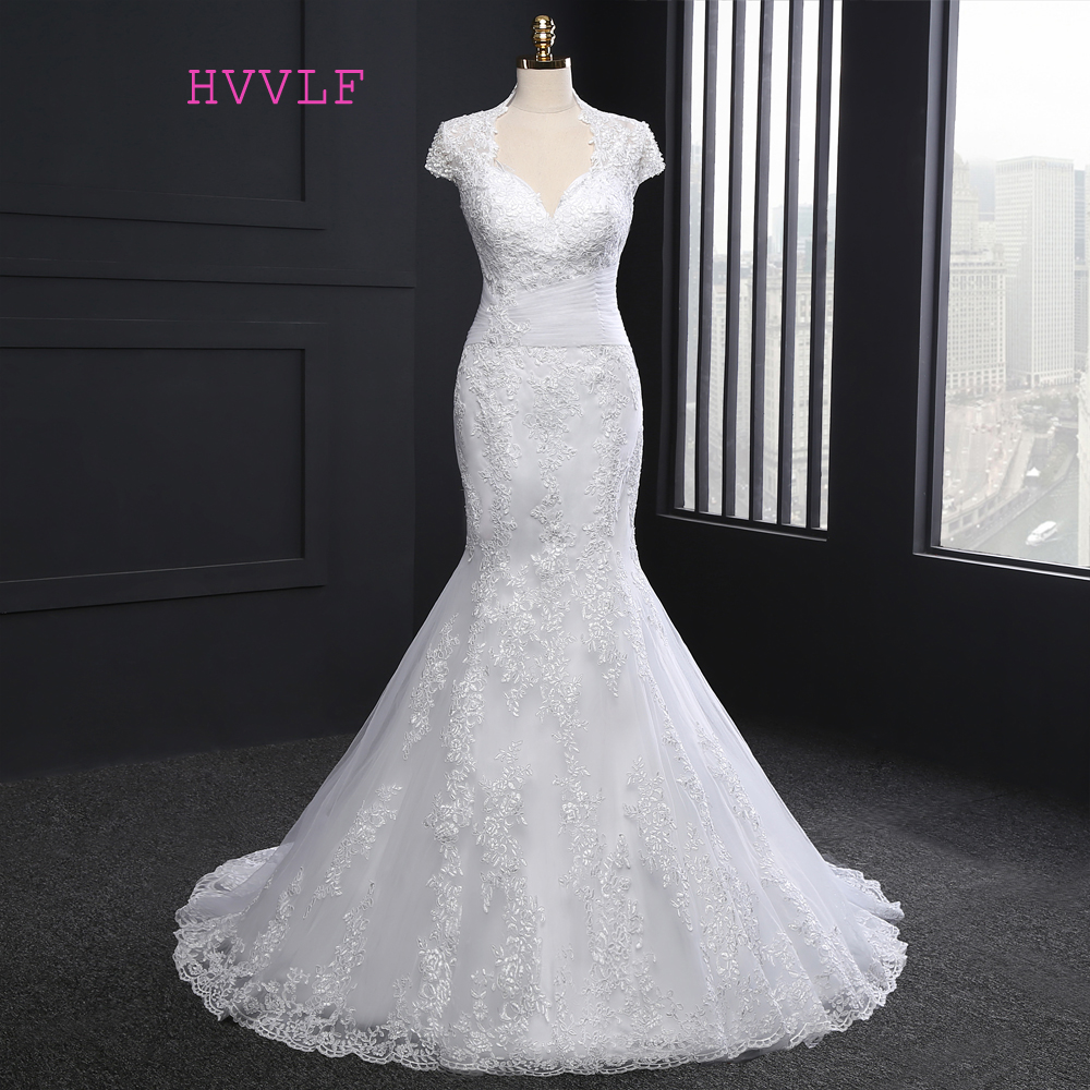New 2018 Vintage Wedding Dresses Mermaid Cap Sleeves Appliques Lace Wedding Gown Bridal Dresses Bridal Gown Real Photos