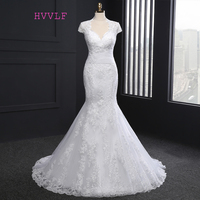 New 2018 Vintage Wedding Dresses Mermaid Cap Sleeves Appliques Lace Wedding Gown Bridal Dresses Bridal Gown