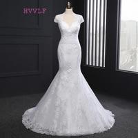 Novo 2018 Do Vintage Vestidos de Casamento Da Sereia Cap Mangas Apliques de Renda Vestidos de Casamento Vestido de Noiva vestido de Noiva Real Fotos