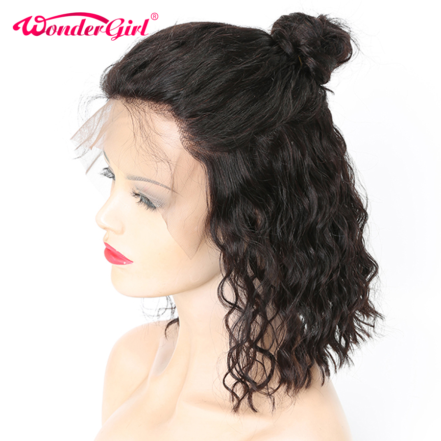 Wonder girl Short Lace Front Human Hair Wigs 150 Brazilian Remy Hair No Shedding Pre Plucked