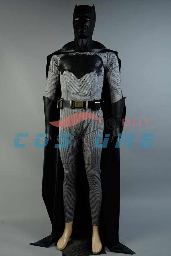 バットマン v スーパーマンの夜明け正義バットマン衣装ブルースウェインジャンプスーツコスプレ衣装マスクベルト成人男性用のカスタムメイド
