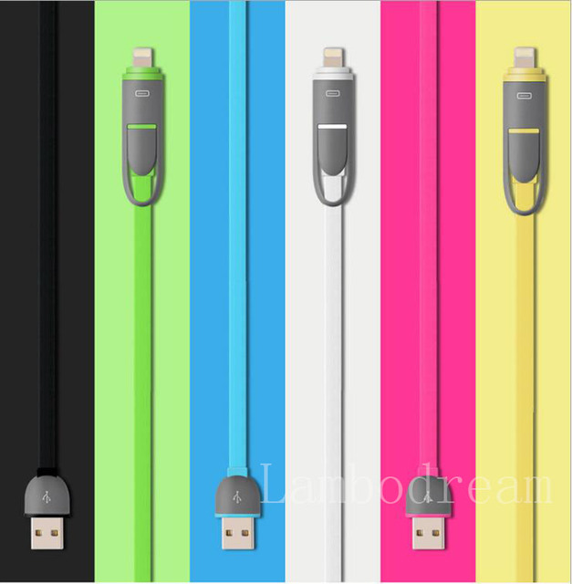 Fast Charging Micro USB Cable + 8Pin 2 in 1 Sync Data Charger For iPhone 7 6s  IOS 10 Cable For Samsung HTC Xiao mi Huawei Meizu