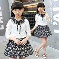 Clothing Set Cotton Shirt + Skirt + Denim Jacket 3Pcs Spring Fall Girls School uniforms Children's clothing2 4 6 8 10 12
