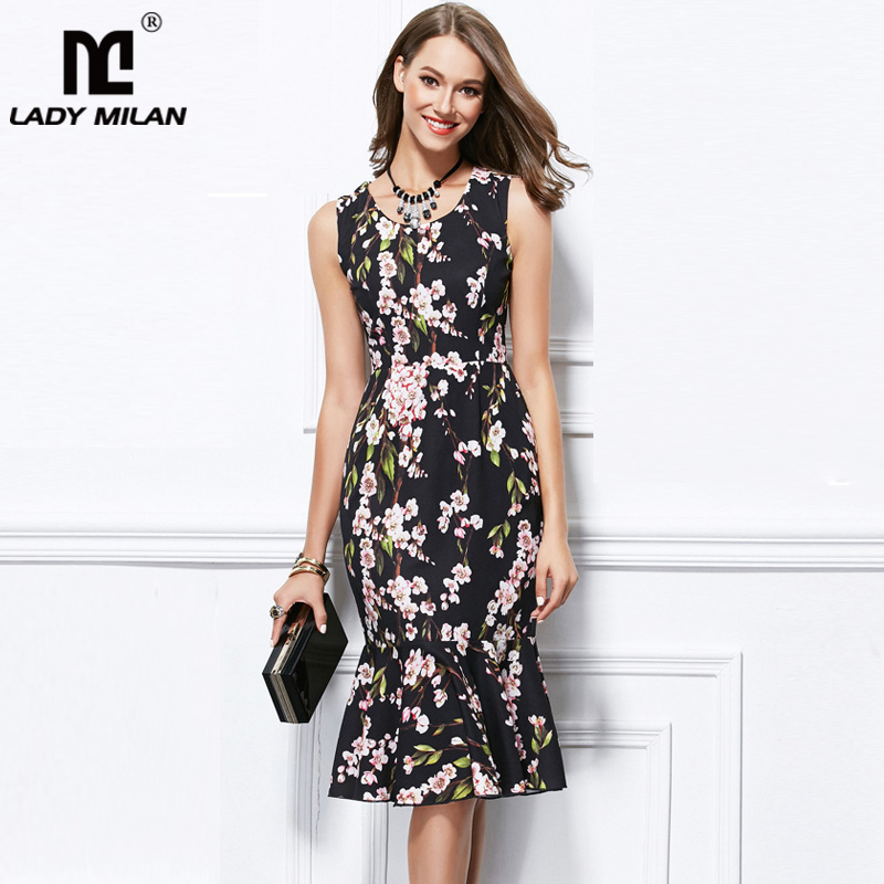 Lady Milan Women's Runway Dresses O Neck Sleeveless Floral Printed Ruffles Fashion High Street Casual Dresses
