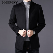 COODRONY ผู้ชายเสื้อฤดูหนาวหนาเสื้อขนสัตว์ผู้ชายเสื้อผ้า 2019 SLIM FIT Coat Mandarin COLLAR เสื้อแจ็คเก็ต Mens เสื้อกันหนาว Mens เสื้อ C03