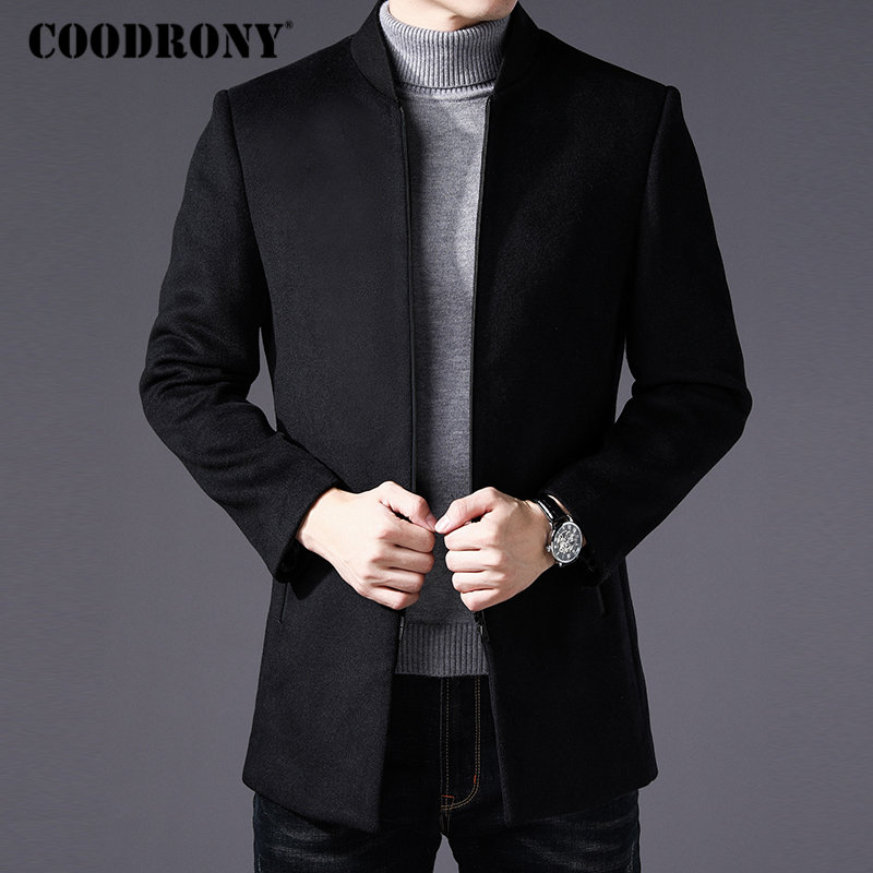 COODRONY Men Coat Winter Thick Warm Wool Coat Men Clothes 2019 Slim Fit Coat Mandarin Collar Jacket Mens Overcoat Mens Coats C03
