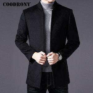 Image 1 - COODRONY Men Coat Winter Thick Warm Wool Coat Men Clothes 2019 Slim Fit Coat Mandarin Collar Jacket Mens Overcoat Mens Coats C03
