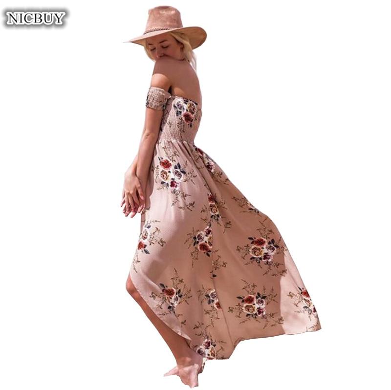 Nuovo Arriva stile lungo vestito delle donne spalle spiaggia vestiti da estate della stampa Dell'annata chiffon maxi Beach Abiti Plus Size XS-5XL
