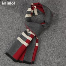 Imixlot Striped Design Casual Scarves Winter Men's Cashmere Scarf Luxury Brand High Quality Warm Neckercheif Long Scarf Men