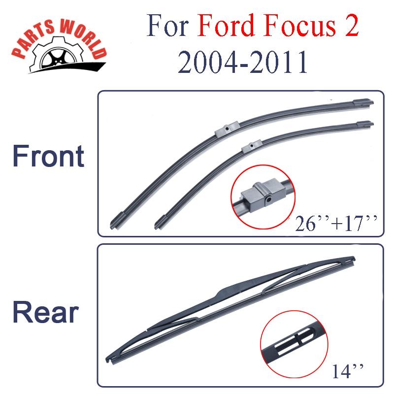 Escobillas de limpiaparabrisas para Ford Focus 2 2004 2005 2006 2007 2008 2009 2010 2011 Limpiaparabrisas delantero y trasero Parabrisas Accesorios para automóviles
