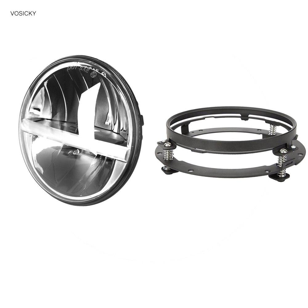 7 Inch Led Headlights Daymaker hi-lo beam amber DRL with bracket ring support for harley TJ LJ JK, CJ-5, CJ-7, CJ-8