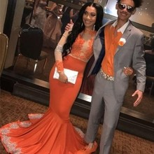 Newest Orange Prom Dresses Long Sleeve Appliqued Mermaid Evening Dress For Women Party