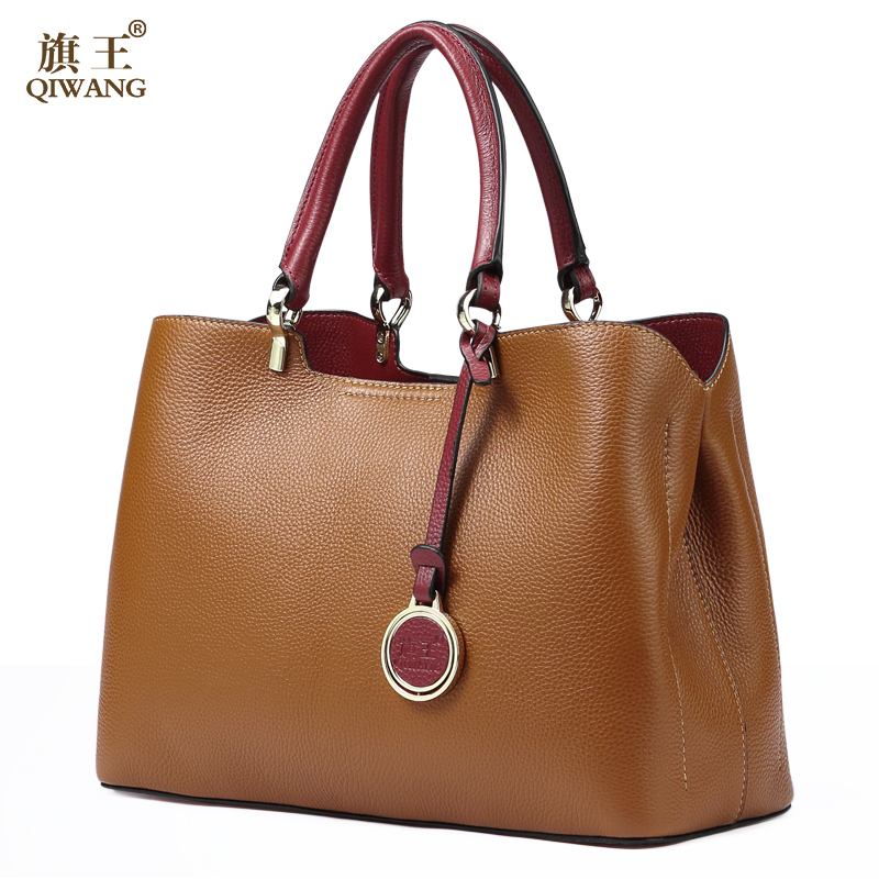 Brown Genuine Cow Leather Handbags for Women Qiwang Luxury Brand Shoulder Bag Fashion Top handle Tote Bag 2019 Ladies Hand Bags-in Top-Handle Bags from Luggage & Bags    1