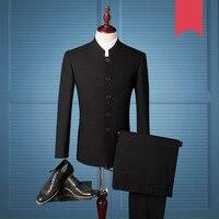2019 New Single Breasted Suits Set Chinese Groom Tuxedos Tunic Mandarin Collar Men Ternos Slim /Slimming Suit Men Coat Pant 986