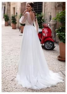 Image 3 - LORIE Beach Wedding Dress Lace Appliques New Design Vestidos de novia Puff Sleeves Bridal Dress floor Length Wedding Gowns