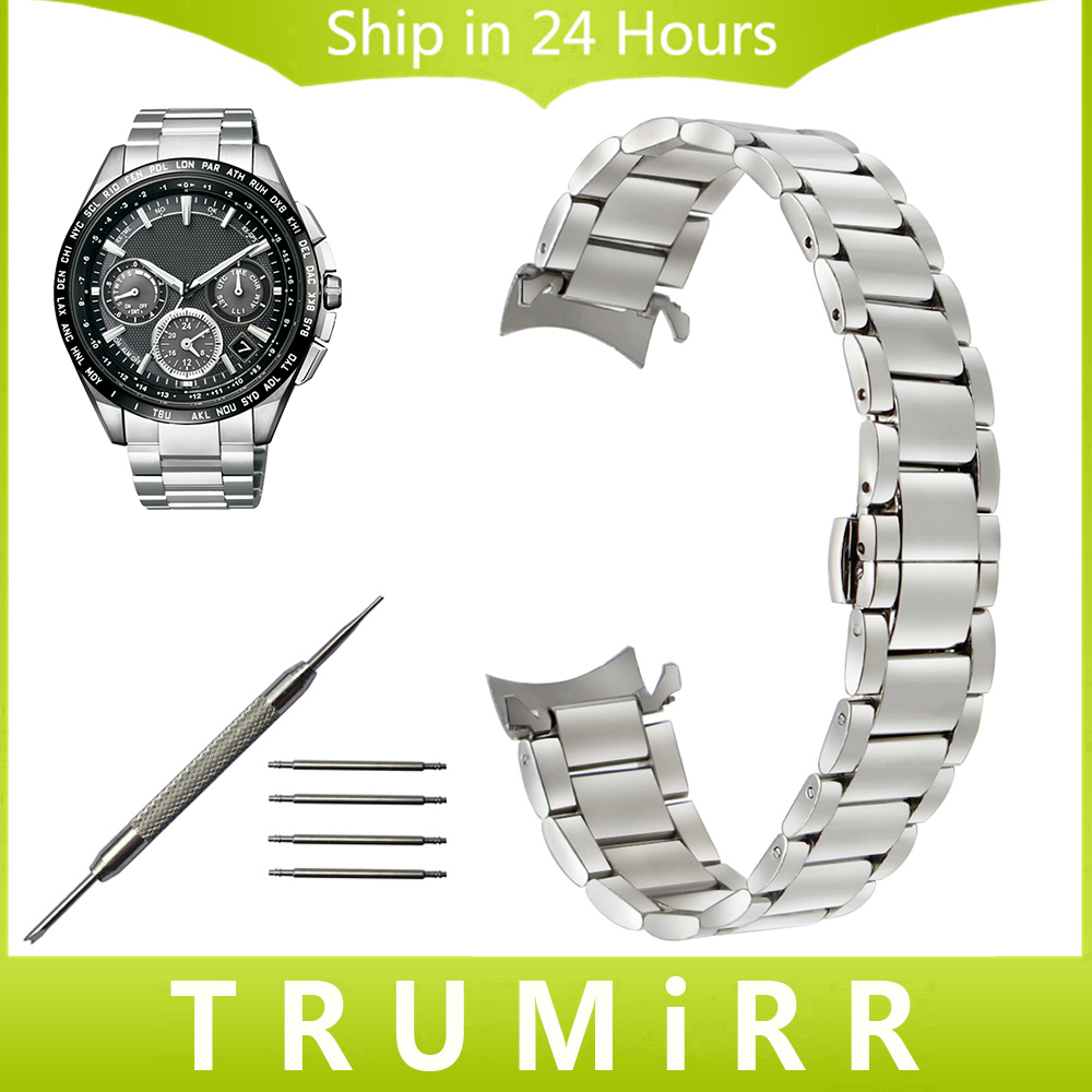 Stainless Steel Watchband Curved End Strap for Citizen Michel Herbelin Watch Band Wrist Bracelet Silver 14mm 16mm 18mm 20mm 22mm