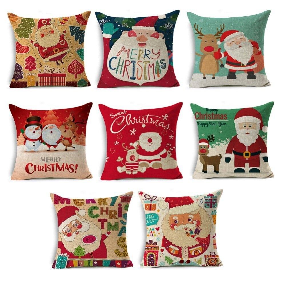 Buchstaben Frohe Weihnachten.Weihnachten Dekoration Frohe Weihnachten Buchstaben Platz Bettwäsche Kissenbezug Santa Elch Glocke Kissen Abdeckung Für Home Sofa Weihnachten Decor