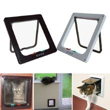4 Way Lockable Dog Cat Door Kitten Security Flap Puppy Plastic Gate ABS S/L Animal Small Pet Supplies Products