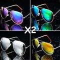 2 unids/lote, Hot MIX Colors Diseñador Azul Reflejado Gafas de Sol de Deporte Al Aire Libre Gafas de Sol de La Vendimia Oculos Shade