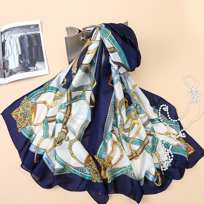 Elegant chain scarf simulation silk scarves spring and autumn long high-grade shawl