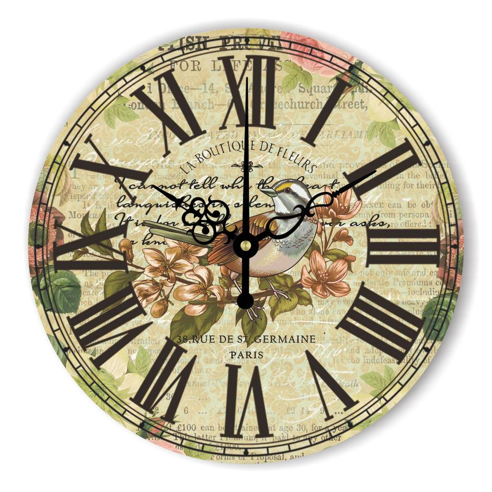 antique large decorative wall clock with roman number warranty 3 years the bird vintage home decor wall clock watches gift
