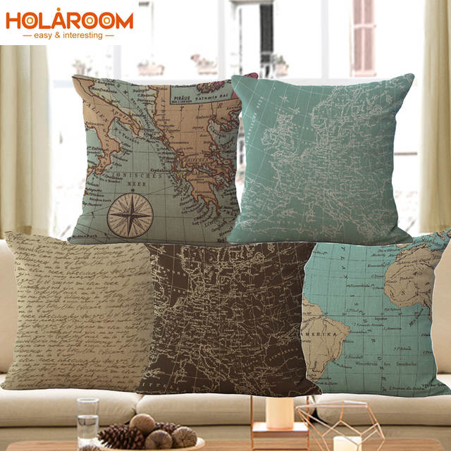 Cojines Sofa Online.Mediterranean Nautical Map Cushion Cover World Map Decorative Pillow Case Linen Cotton Cojines Decorativos For Sofa Car Home