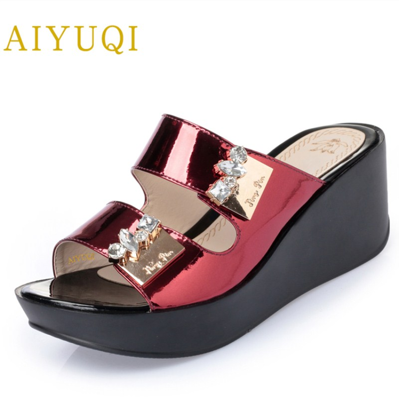 AIYUQI 2018 summer new women's genuine leather slippers. women flat bottom diamond thick shoes, plus size 43# women's shoes aiyuqi plus size 41 42 43 women s flat shoes 2018 spring new genuine leather women shoes soft surface mom shoes women