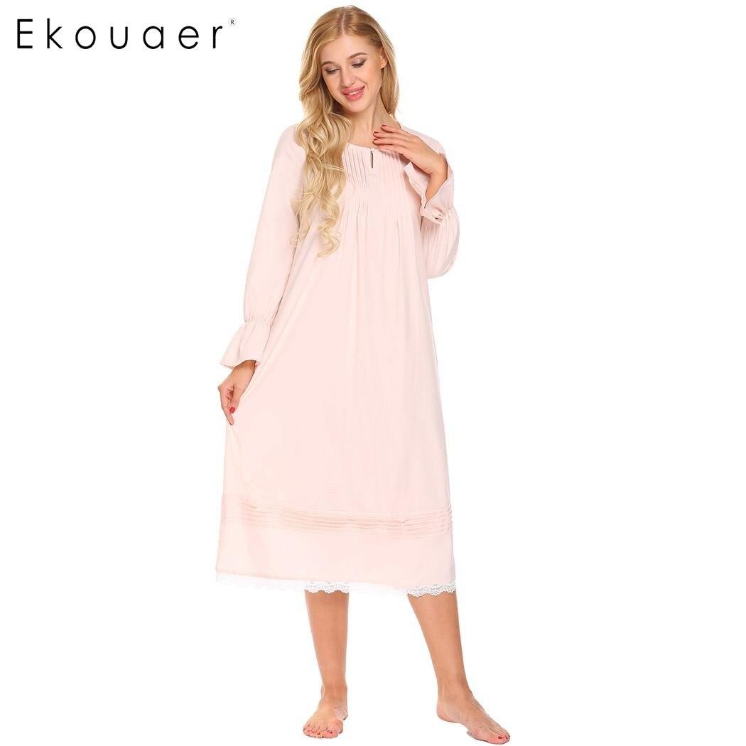 135249d0a9 Ekouaer Women Vintage Sleep Dress Women Sleepwear Long Sleeve Lace  Patchwork Button Down Sleepshirt Nightgown Sleep Lounge Dress