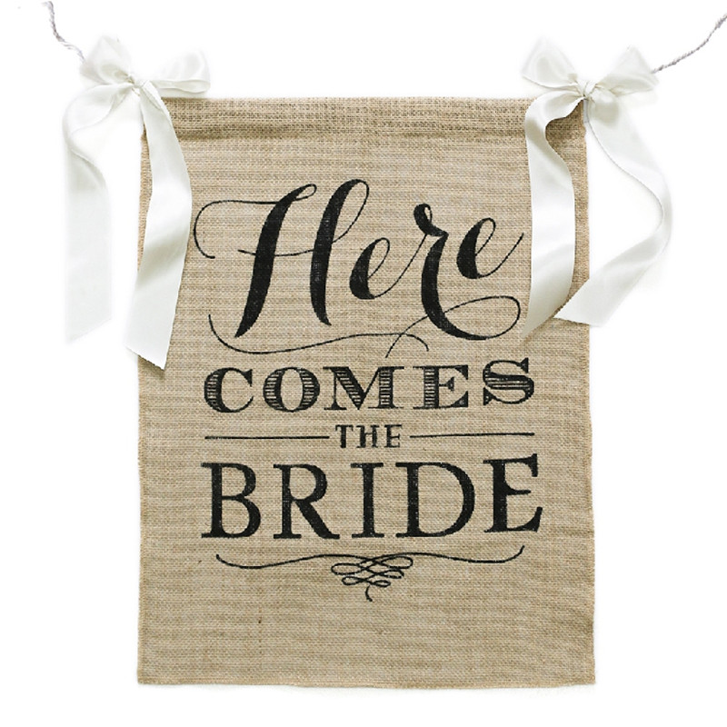 Jute Here Comes The Bride Wedding Sing Wedding Flower Girl Sign Rustic Wedding Centerpieces Burlap Wedding Decor