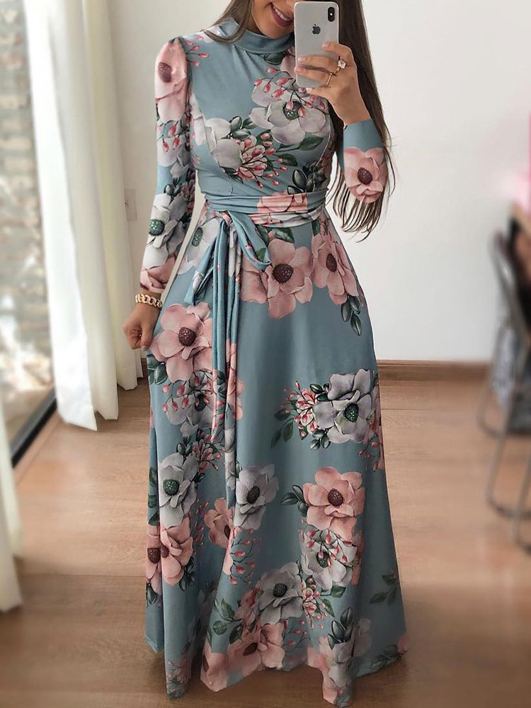 Amazon ebay autumn winter leisure dress dress printing belt dress long sleeves(China)