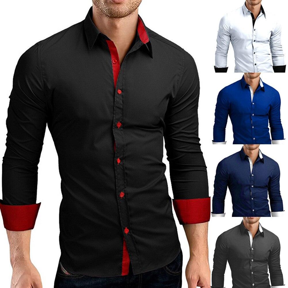 HTB1BzNoXyDxK1RjSsphq6zHrpXa1 - #4 DROPSHIP 2018 NEW HOT Fashion Men's Autumn Casual Formal Solid Slim Fit Long Sleeve Dress Shirt Top Blouse Freeship