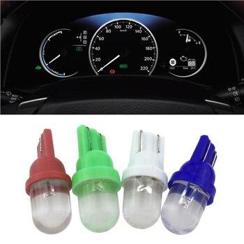 10 Uds Interior del coche T5 Led 1 SMD DC 12V Luz de cerámica para salpicadero instrumento de calibre lámpara de luz de cuña lateral para coche de cerámica