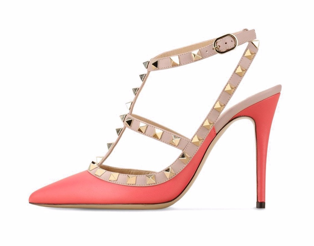 Mode Pompes Stiletto gray Des Rivets strap brown Chaussures Size5 red1 Nouvelle T Sandales 2016 Femmes Pointu red3 blue1 Black1 15 Sangle Gladiateur white2 white1 yellow purple pink Grand Boucle De orange Bout nude blue2 red2 black2 green Avec 6I5Fax