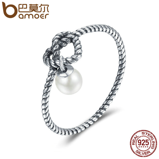 BAMOER Genuine 925 Sterling Silver Twisted Heart with Simulated Pearl Finger Rin