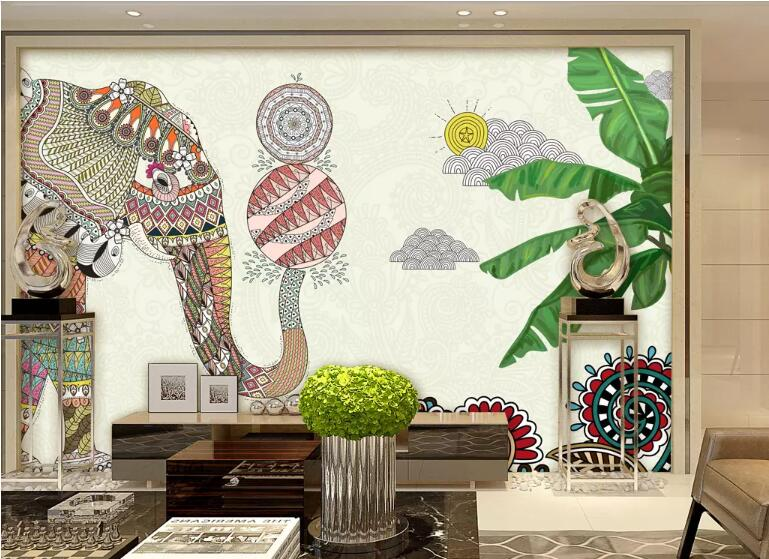 Us 9 0 40 Off Beibehang Custom Medieval Hand Painted Tropical Jungle Plant Banana Leaf Flamingo Background Wall Painting Wallpaper Behang In