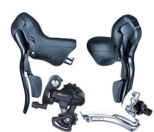 Microshift STI Road Bike Shifters SB-R473 Trip 3X7 Speed Lever Brake Bicycle Derailleur Groupset Compatible for Shimano original microshift bicycle derailleur set ts83 9 shifters 3x9 speed trip mtb bike derailleur groupset compatible for shimano