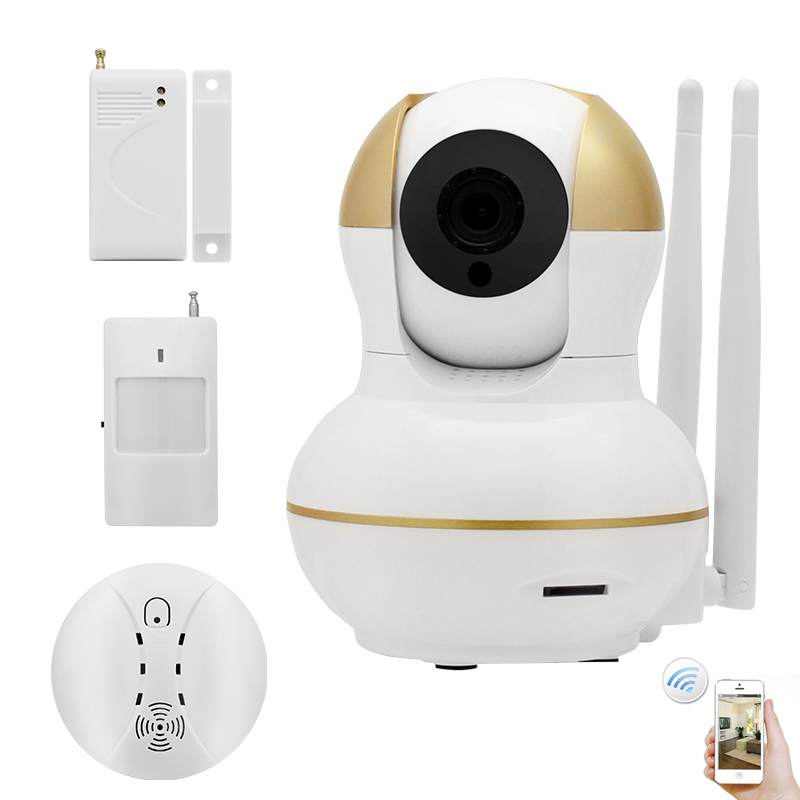 Smart Home WiFi Alarm Kit Wireless Security IP Camera System 720P Video Monitor Door Sensor Surveillance Motion Smoke Detector original orvibo smart security kit alarm detector zigbee intelligent hub motion door sensor wifi ip camera app remote control