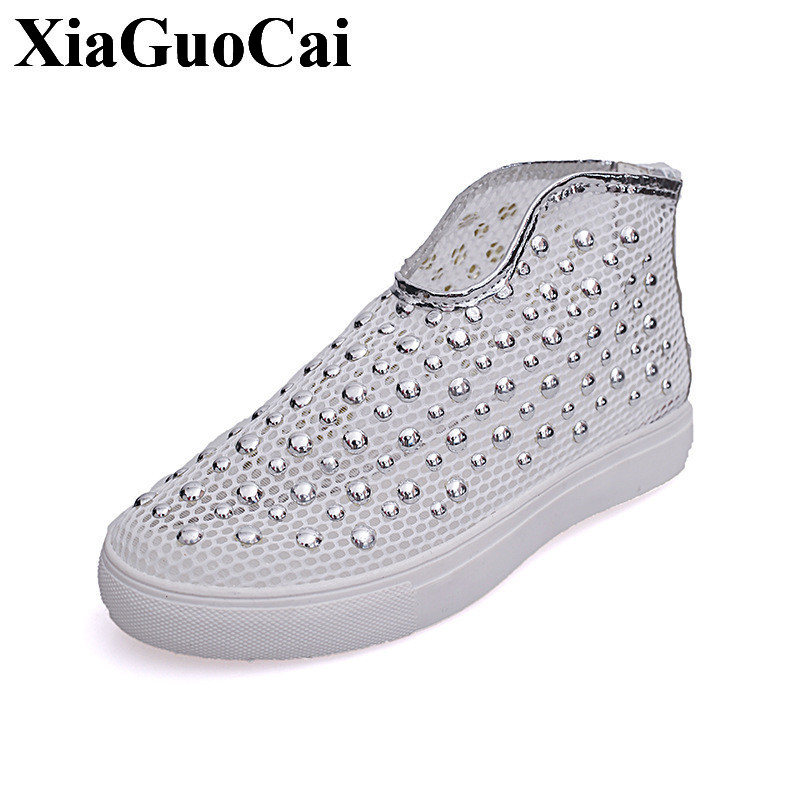 Summer Breathable Hollow Casual Shoes Women Slip-on Platform Flats Shoes Fashion Revit Height Increasing Women Shoes H498 35 women creepers shoes 2015 summer breathable white gauze hollow platform shoes women fashion sandals x525 50