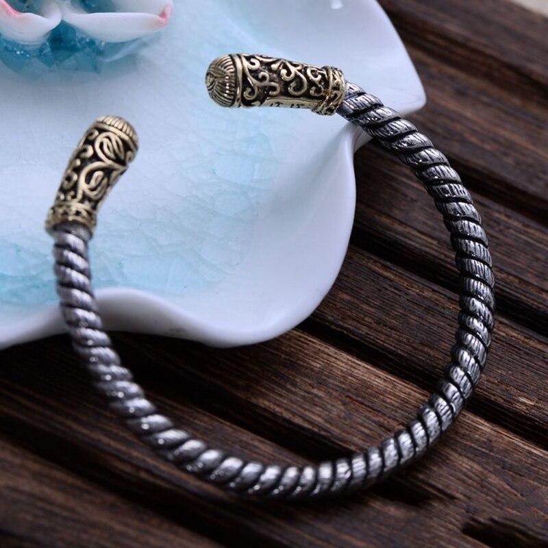 Bracelet en argent Sterling 925 rétro avec corde torsadée pour hommes, sculpture sur fleurs Vintage avec Bracelets d'ouverture pour les yeux de dieu-in Bracelets from Bijoux et Accessoires    1