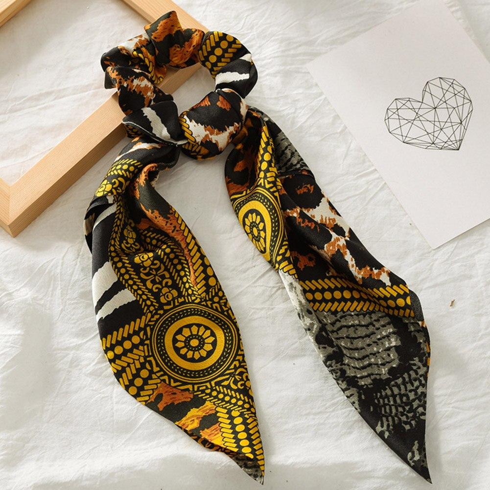 Элегантные резинки для волос с большим цветком и леопардовым принтом; эластичные резинки для волос для женщин и девочек; завязанные длинные резинки; шарф; аксессуары для волос - Цвет: 8