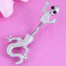 Kvalitní tělový piercing ve tvaru ještěrky z nerezové oceli