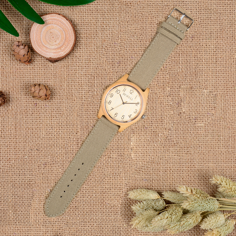 BEWELL Bamboo Wood Watch Analog Digital For Men 53
