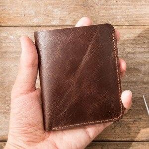 Image 2 - AETOO עור ארנק זכר קצר סעיף השכבה הראשונה של עור בעבודת יד שני לקפל דק רישיון נהיגה ארנק אנכי