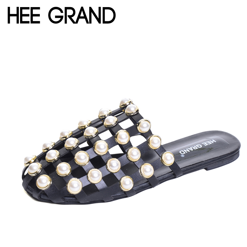 HEE GRAND 2018 New Slippers Pearl Slides Summer Beach Slip On Flats Casual Outside Platform Shoes Woman Size 35-40 XWZ4155 hee grand breathable casual woman shoes air mesh candy color woman flats loafers comfortable slip on shoes size 35 40 xwc1181