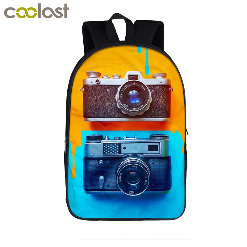 Funny Camera Painting Backpack For Teenager Boys Girls Book Bag Laptop Backpack Children School Bags Kids Bookbag Best Gift